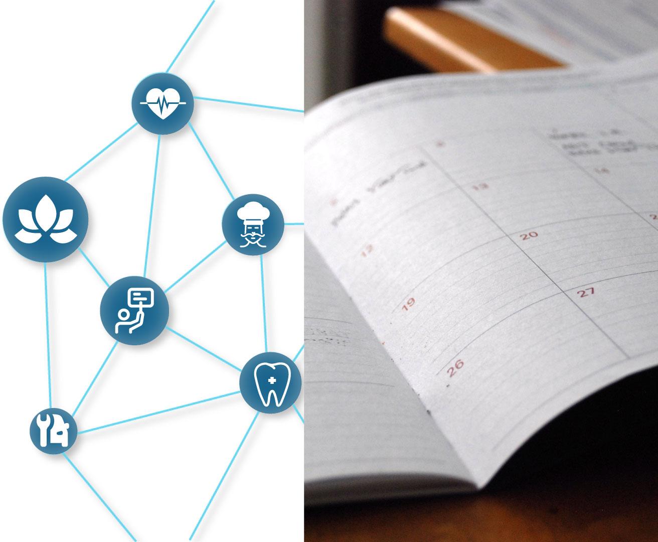 Titelbild mit Branchenverknüpfungen auf der linken Seite und einem offenen Terminbuch auf der rechten Seite, steht für online Terminbuchungen vs. herkömmliche Buchungen