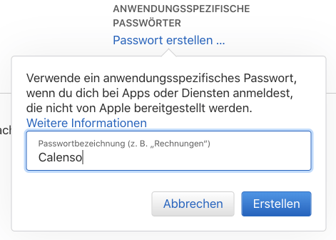 Namensgebung anwendungsspezifisches Passwort