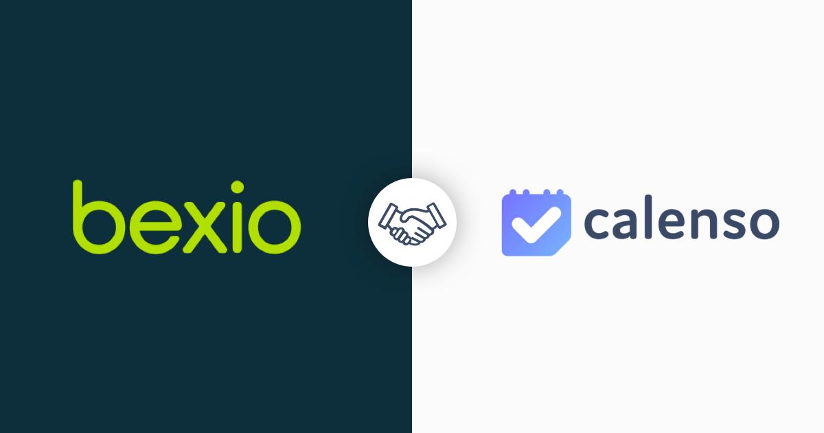 Bexio und Calenso Logos mit Handedruck in der Mitte
