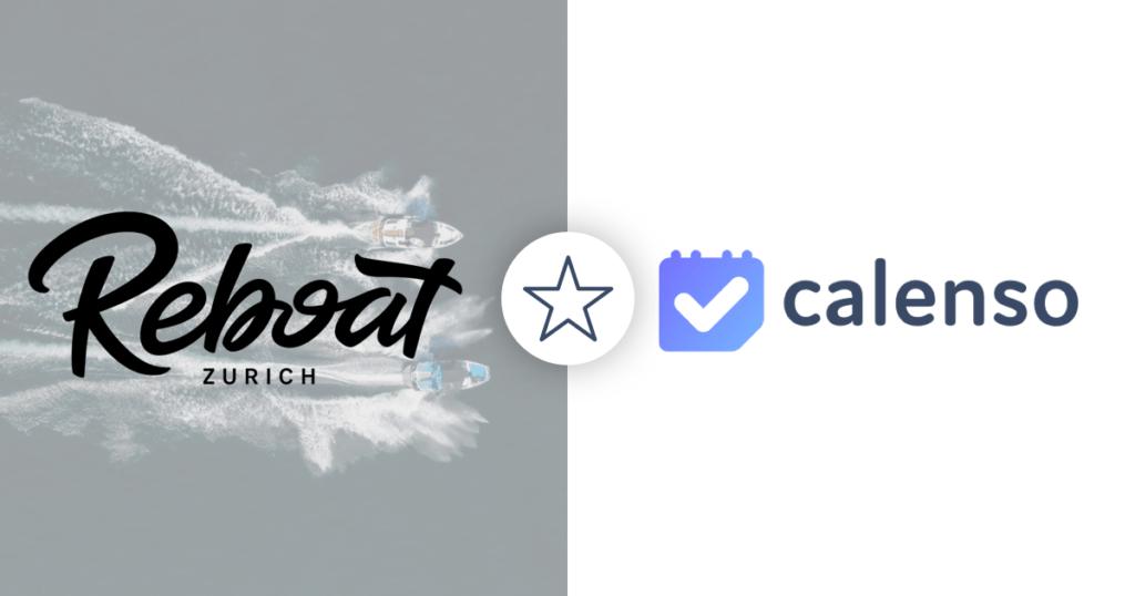Links Logo Reboat mit Bild hinterlegt auf dem zwei Boote auf dem See fahren, rechts Calenso Logo mit Stern in der Mitte für Whitelabel Kunden