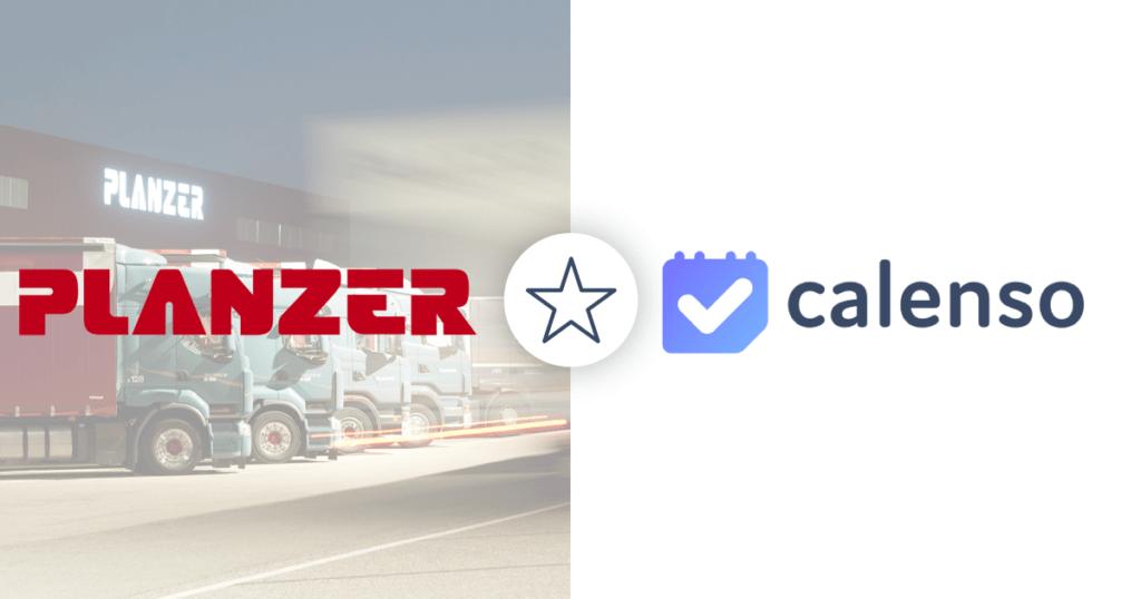 Links Planzer Logo mit Lastwagen von Planzer als Hintergrund, rechts Calenso Logo, Symbolbild für Corporate Kunden