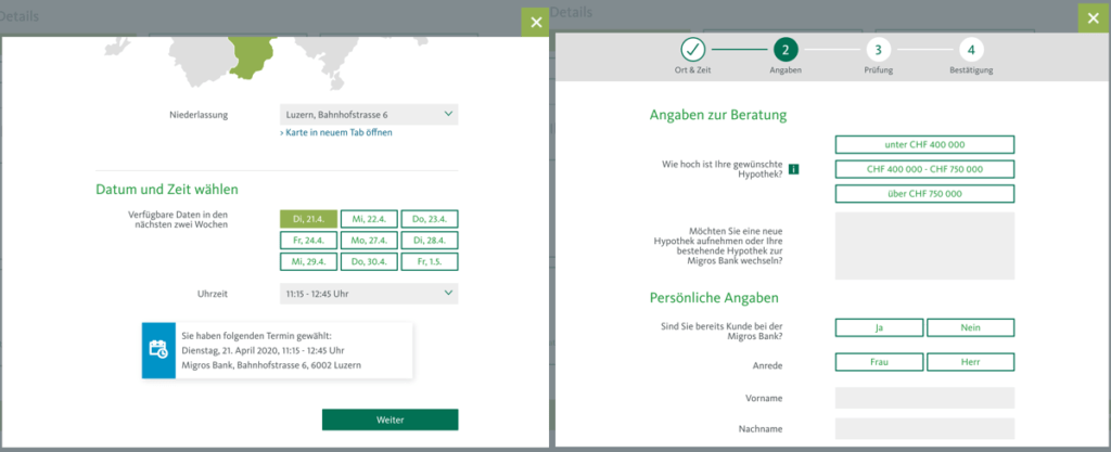 Migros Bank online Terminvereinbarung