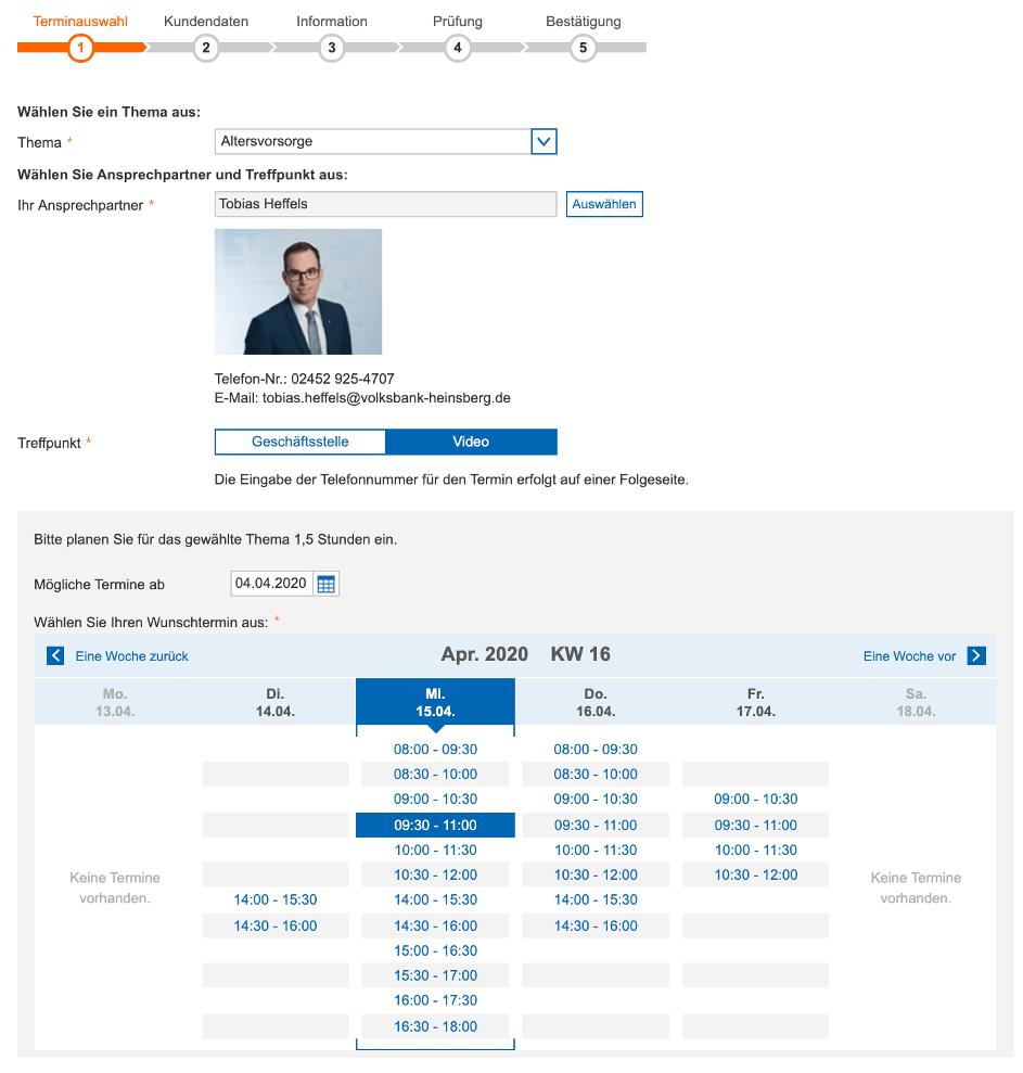 Terminvereinbarung bei einer VR Bank