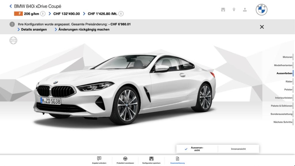 Konfiguration eines BMW Auto