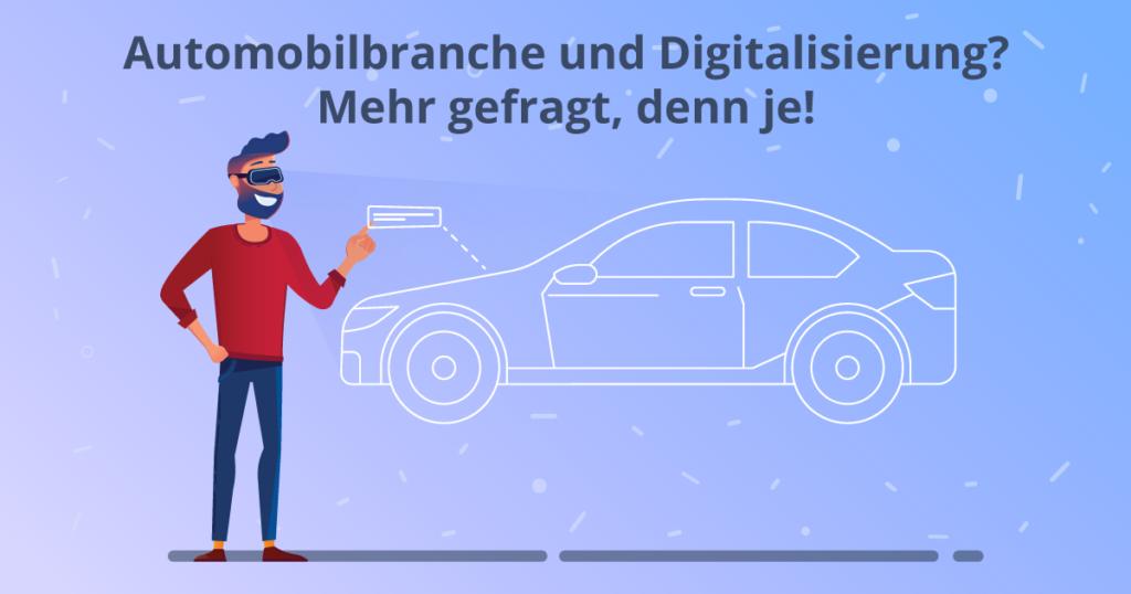 Mann mit VR Brille sieht sich ein digitales Auto an