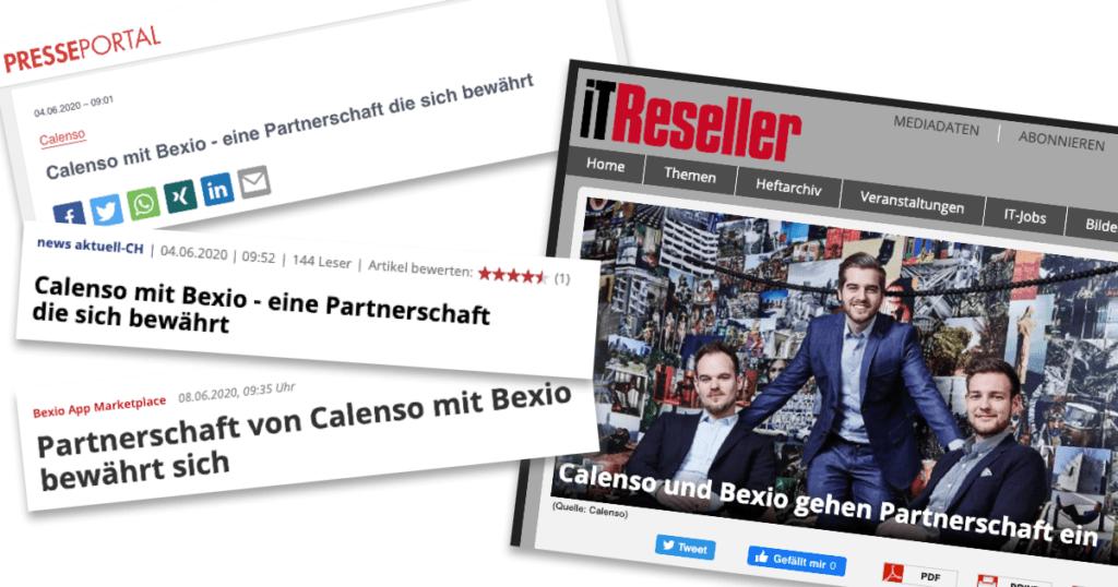 4 Presse Mitteilungen über Calesno und Bexio